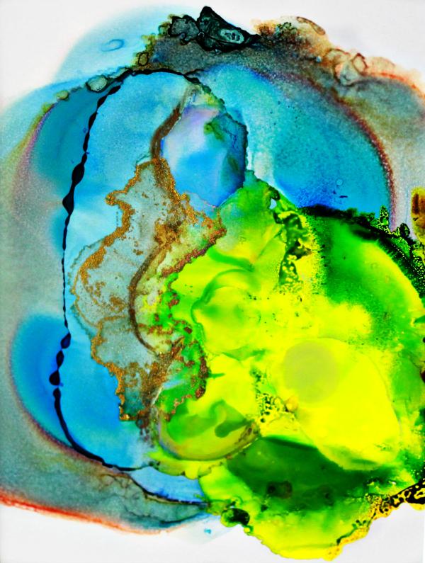 Original Ink Abstract Painting – Blue Squash November