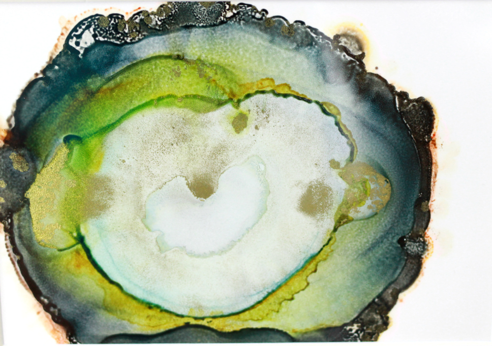 Alcohol Ink Art: The Small Emerald Agate Series
