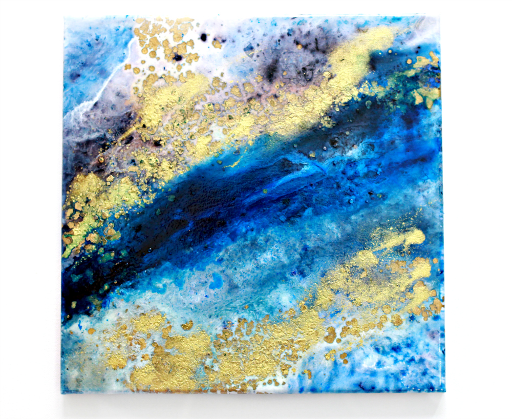 Abstract Blue And Gold Ink Canvas Painting Aquatica