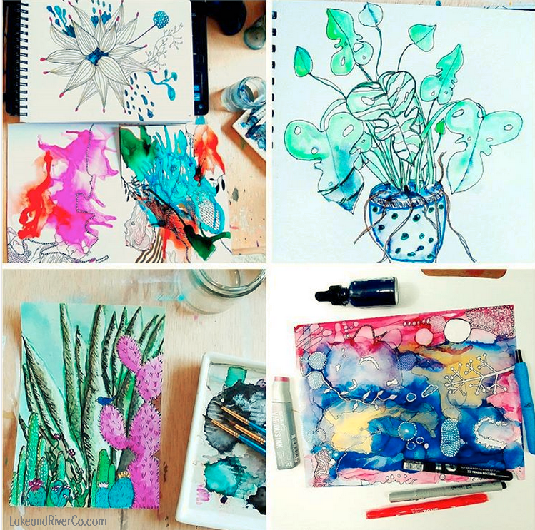 Art In Progress: Abstract Paintings and Botanical Sketches