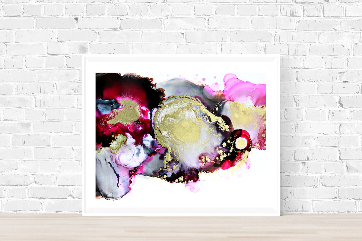 magenta pink black gold Abstract Painting