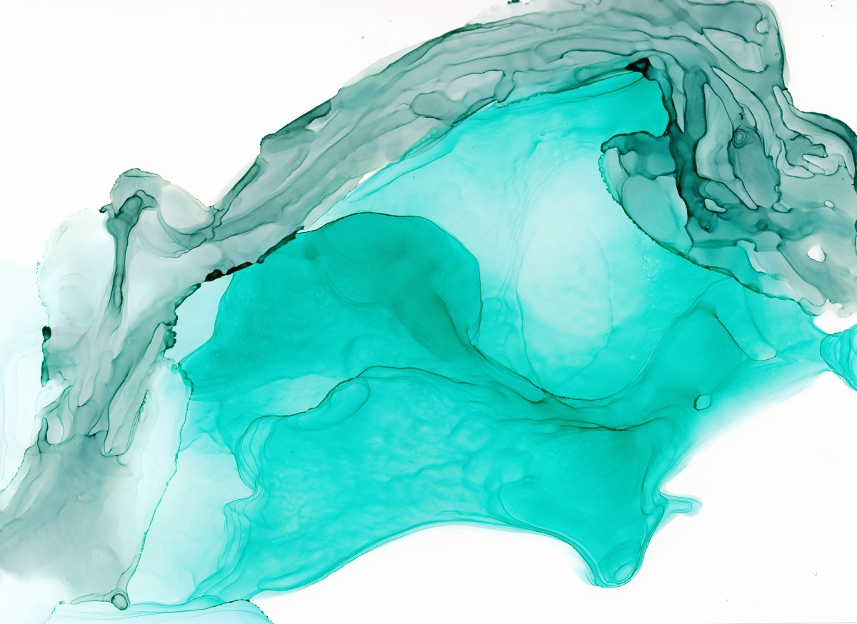 Aqua Turquoise Abstract Painting, Atlantis