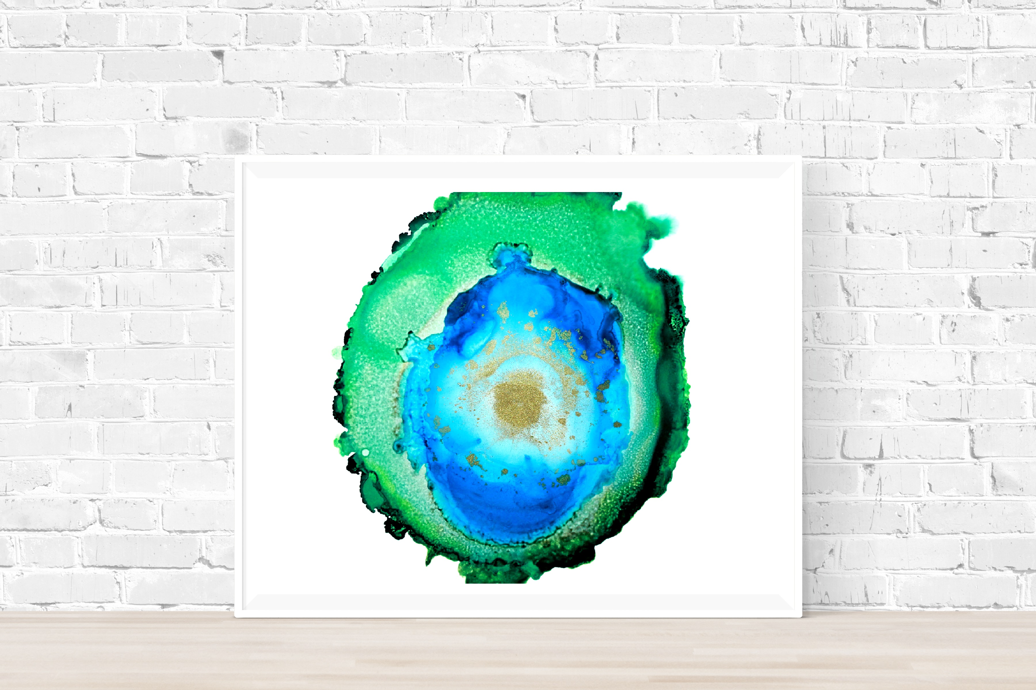 green and blue agate painting