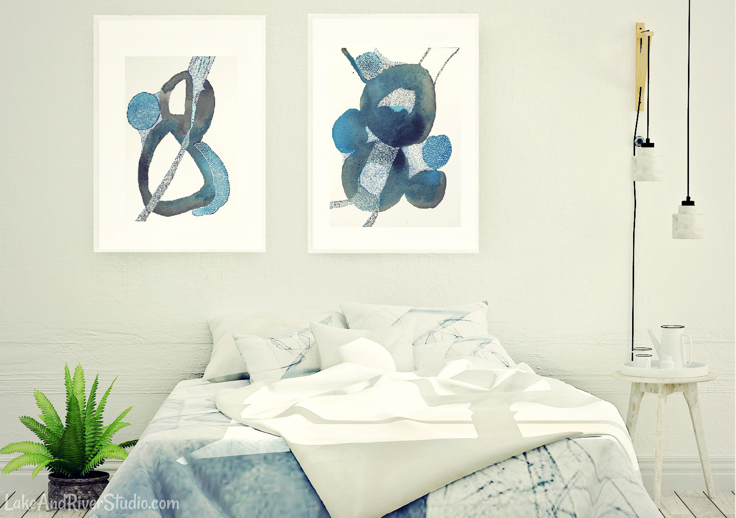 black blue abstract painting set of 2