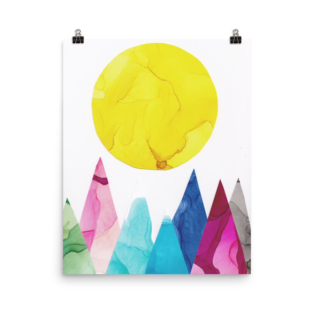 sun over mountain landscape illustration
