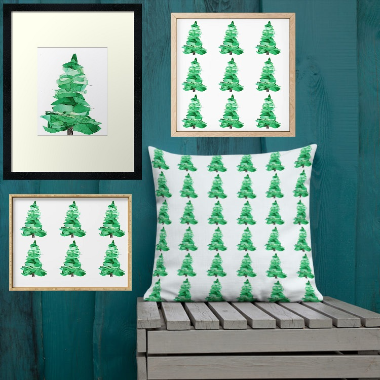 painted evergreen trees