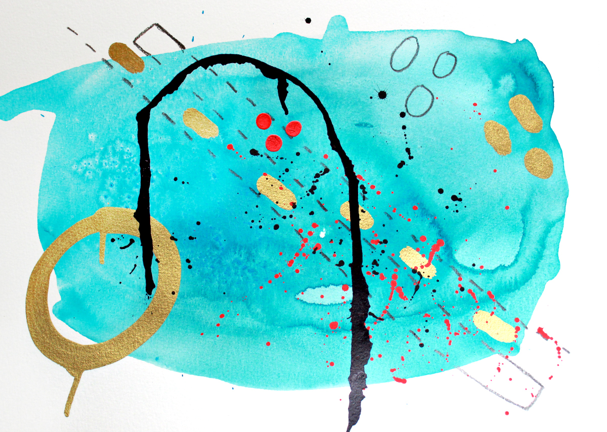 turquoise abstract art with gold metallic