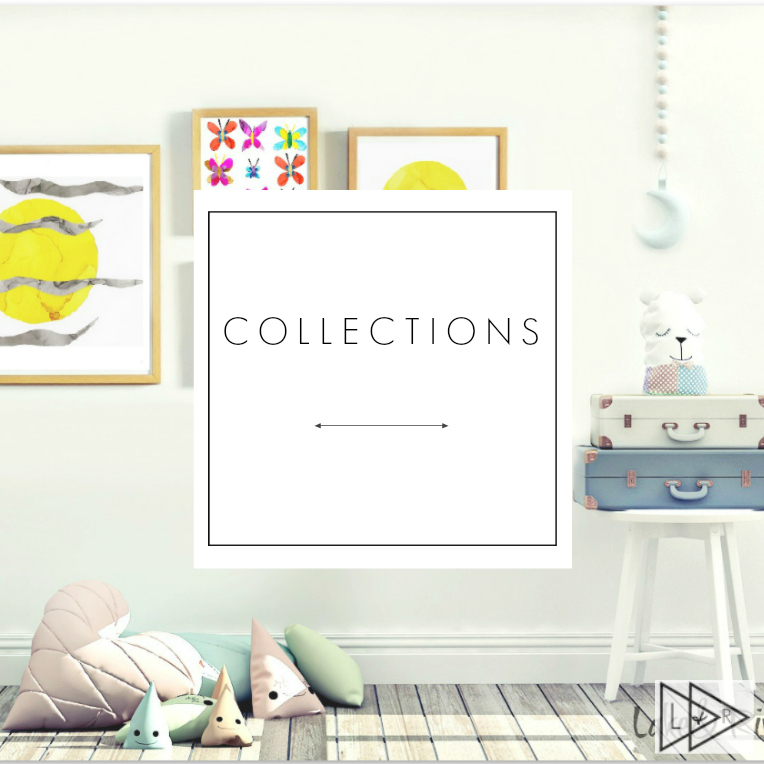 art collections featuring prints, pillows, bags, and mugs