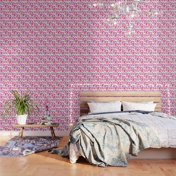 Pink Butterfly wall[paper in bedroom